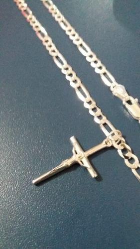 Corrente Elos 3x1 70 Cm 4 Mm + Pingente Crucifixo Prata 925