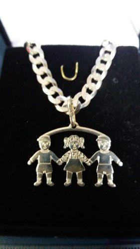 Pingente Em Prata 925 Legítima Modelo Dois Meninos 1 Menina