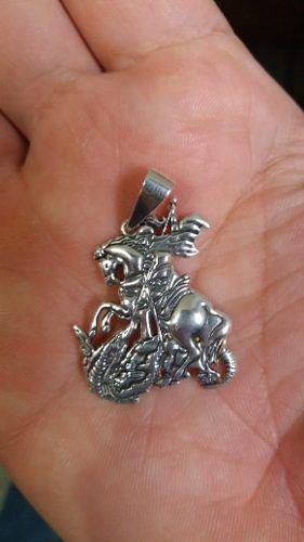 Pingente Em Prata 925 Maciça São Jorge 4,5 Gramas 3 X 2,5 Cm