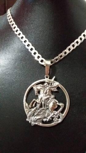 Pingente Grande Prata 925 Maciça São Jorge 5,3 Cm 28 Gramas