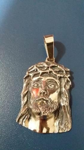 Pingente Em Prata 925 Face Cristo Oco 4 X 3 Cm 12,7 Gramas
