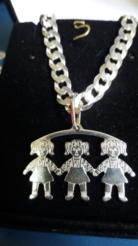 Pingente Em Prata 925 Legítima Modelo Três Meninas 2 Gramas
