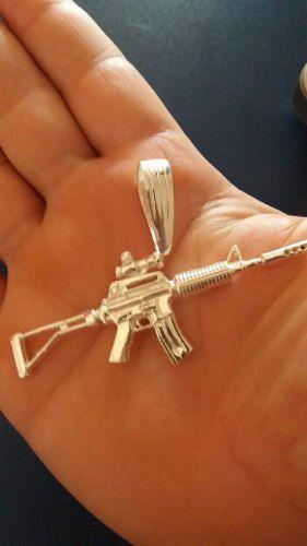 Pingente Em Prata 925 Maciça Modelo Fusil M4 17,5 Gramas