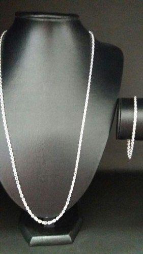 Conjunto Corrente 70 Cm + Pulseira Em Prata Maciça 925