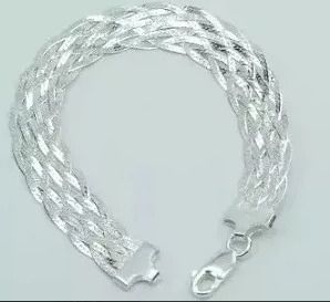 Colar Feminino Prata 925 Tramado 40 Cm + Pulseira 11 Fios