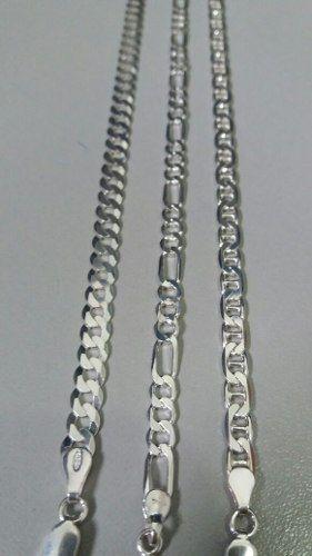 3 Pulseiras Prata 925 Maciça Grumet, Elos 3x1, Lacre Latinha