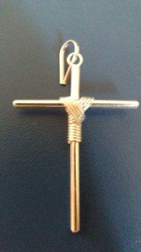 Pingente Cruz Com Fio Médio Em Prata 925 Maciça 2,5 Gramas