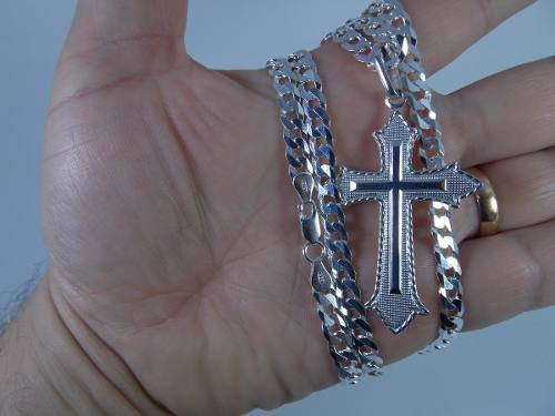 Corrente Prata 925 60cm Masculina Cordão Pulseira E Pingente