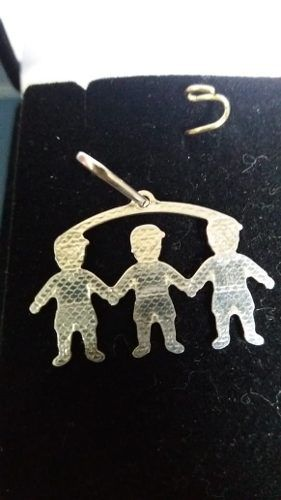 Pingente Em Prata 925 Legítima Modelo Três Meninos 2 Gramas