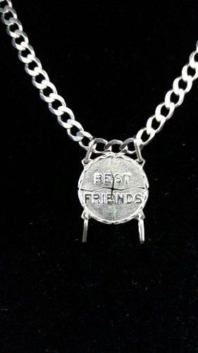 Pingente Prata 925 4x1 Melhores Amigos 3 Gr. 2 Cm Diâmetro