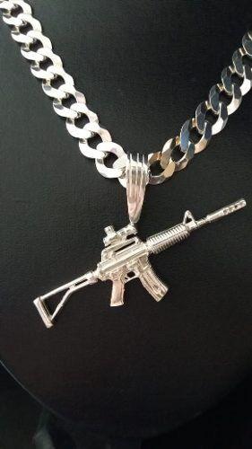 Pingente Em Prata 925 Maciça Modelo Fuzil M4 17,5 Gramas
