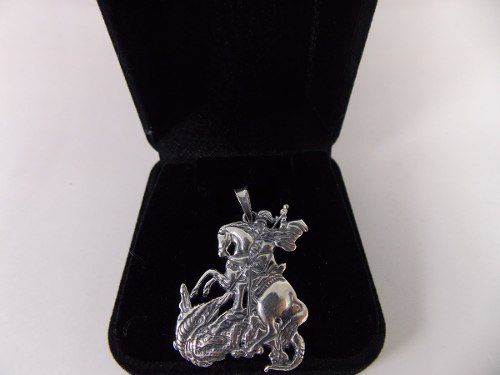 Lindo Pingente Prata 925 Maciça São Jorge 6,4 Gramas 3,1cm