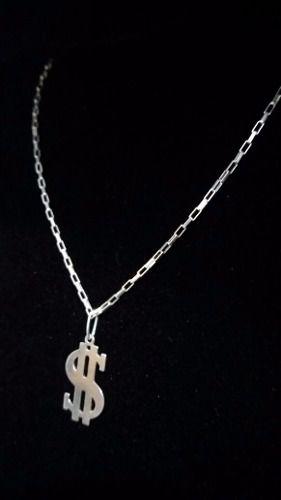 Corrente Cartier 60 Cm Prata 925 Maciça + Pingente Cifrão