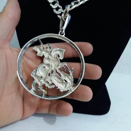 Pingente Gigante Prata 925 Maciça São Jorge 7,6 Cm 40 Gramas