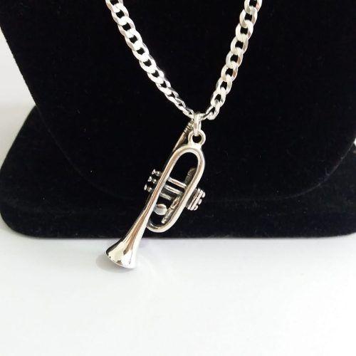 Pingente - Prata 925 Envelhecido - Modelo Trombone - 5,3 Cm