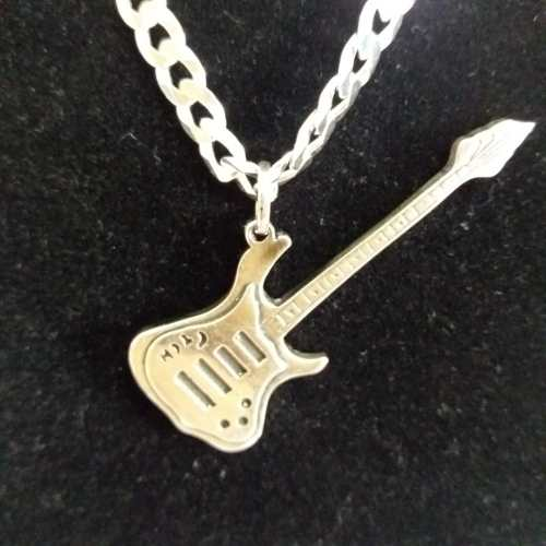 Pingente - Prata 925 Envelhecido - Modelo Guitarra - 4,5 Cm