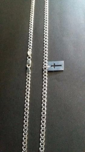 Corrente Italiana Grumet Prata 925 60cm 4mm + Pingente Chapa