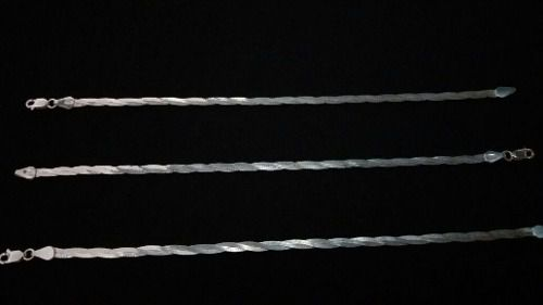 Pulseira Prata 925 - 3 Fios - Trançada - 3mm - 19,5cm