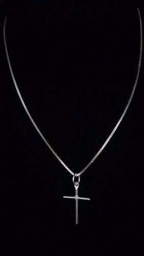 Corrente Prata Maciça 925 C/ Pingente Crucifixo 40cm