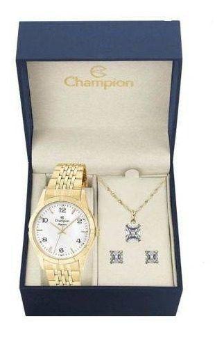 Relógio Champion Feminino Dourado Cn25449w + Kit Bijuteria