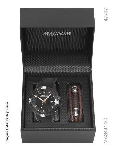 Relógio Magnum Masculino Analógico Kit Com Pulseira Ma34414c