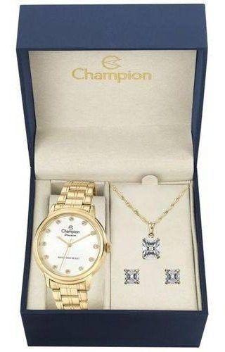 Relogio Champion Feminino Dourado + Kit