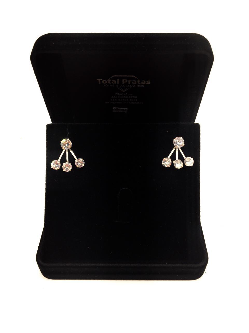 Brinco Ear Jackets Com Pedras Zircônias