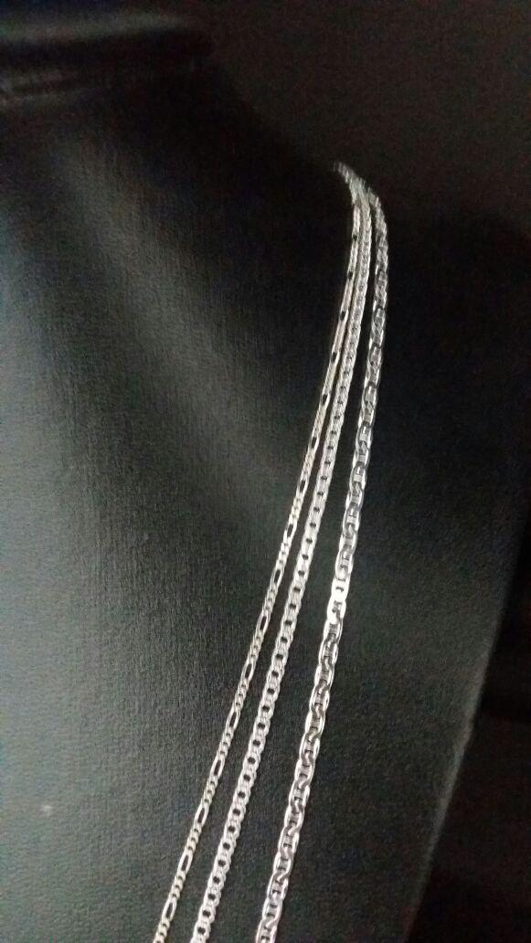 Conjunto 3 Correntes Prata 925 Maciça Elo Duplo, 3x1, Lacre