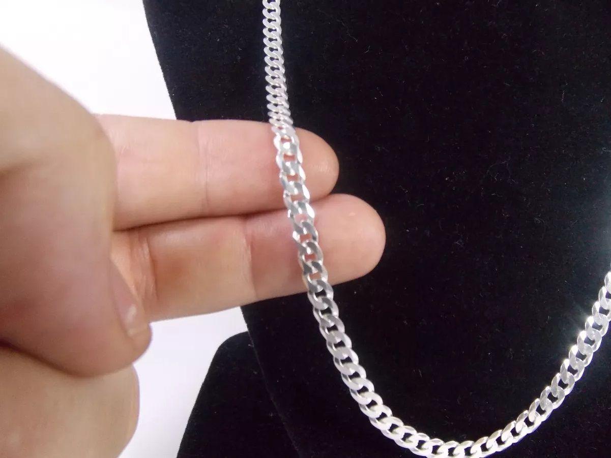 Cordão Corrente Italiana Masculina Grumet Em Prata 925 60cm