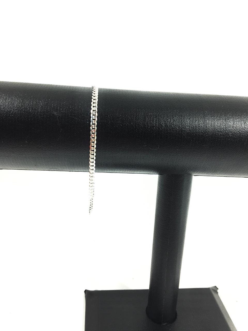 Corrente Grumet Fina 70 Cm 2,9 Mm + Pulseira Prata 925