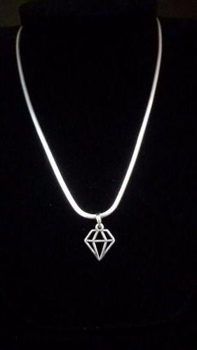Corrente Laminada Fina Prata 925 + Pingente Diamante