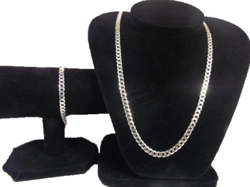 Corrente Masculino Grumet 80 Cm 6 Mm +pulseira Em Prata 925