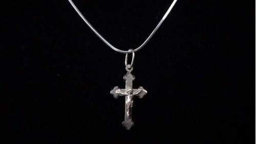 Corrente Prata 925 Laminada Fina 70 Cm + Crucifixo