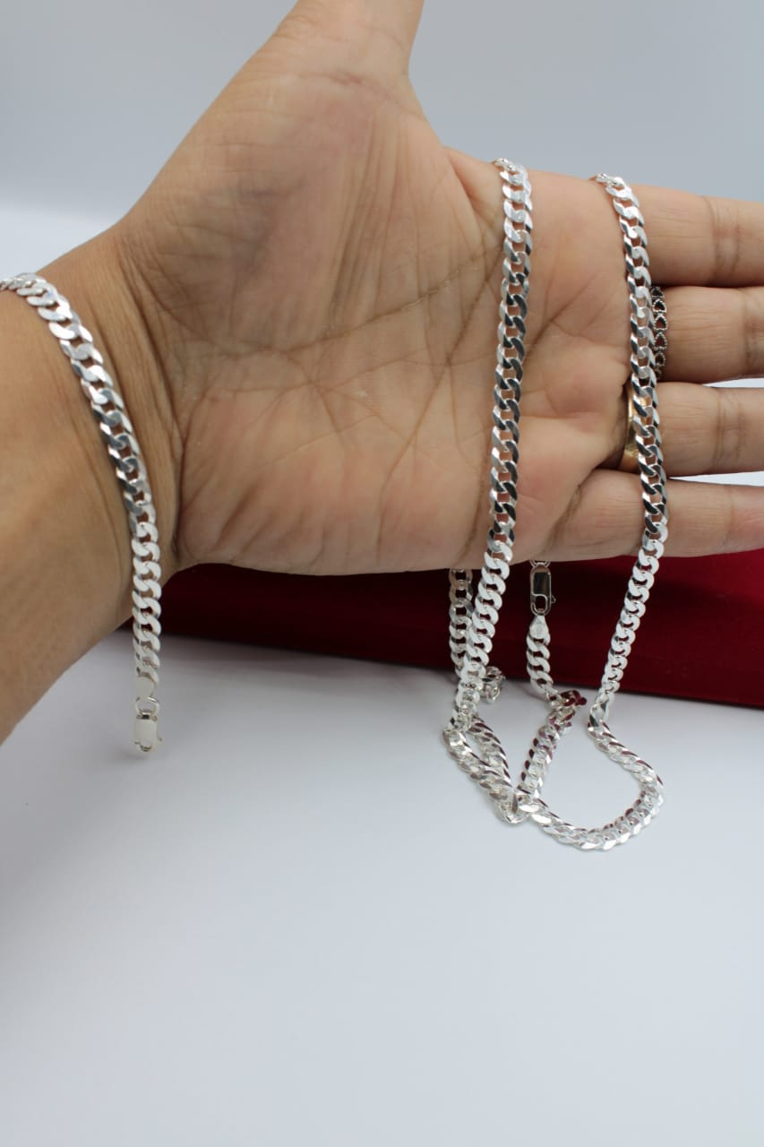 Corrente Prata Maciça 925 Elos Grumet 70 Cm + Pulseira 19cm