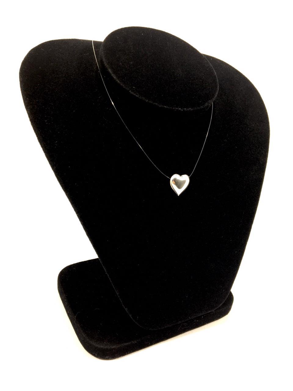 Gargantilha de Nylon 40 cm com Pingente de Coração em Prata 925