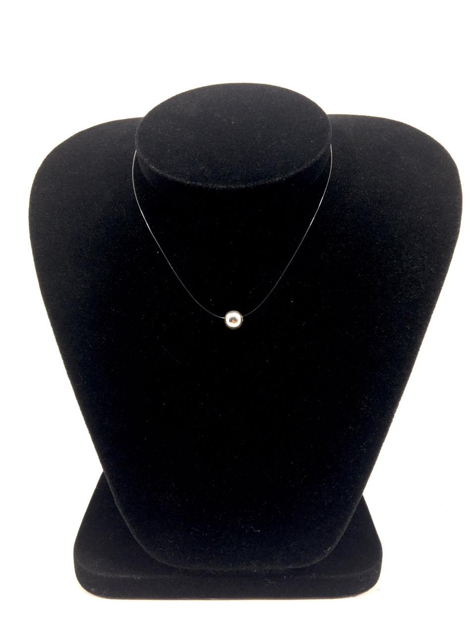 Gargantilha de Nylon 40 cm com Pingente de esfera em Prata 925