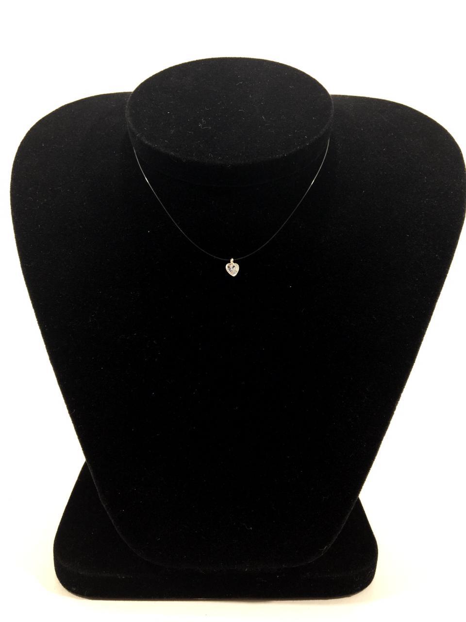 Gargantilha Nylon 40 cm com Pingente Coração  pedra de Zirconia
