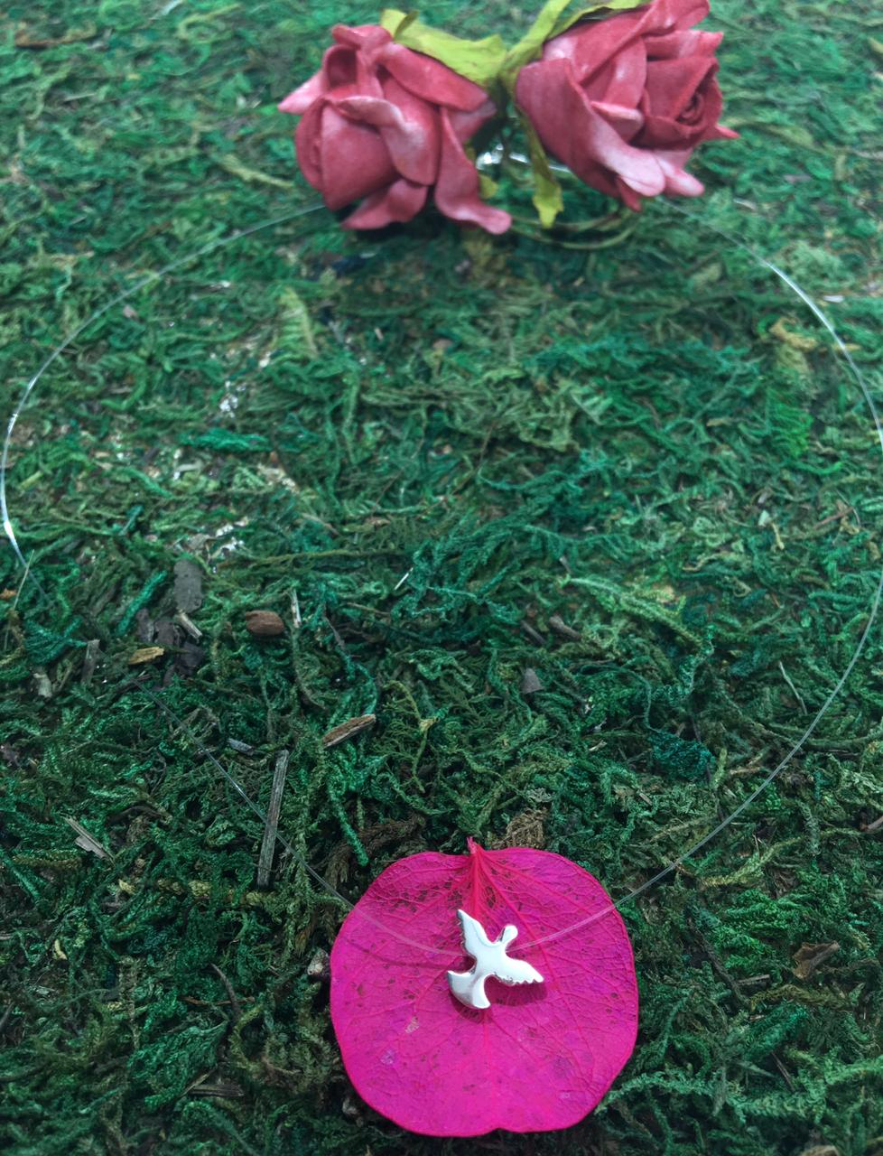 Gargantilha Nylon 40 cm com Pingente Espírito Santo em Prata 925