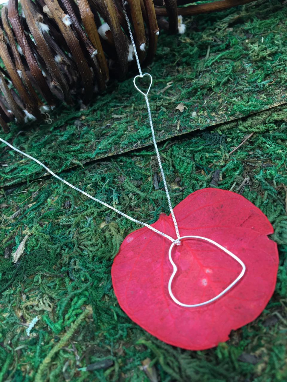 Gargantilha Veneziana 40 cm com Pingente Coração Vazado