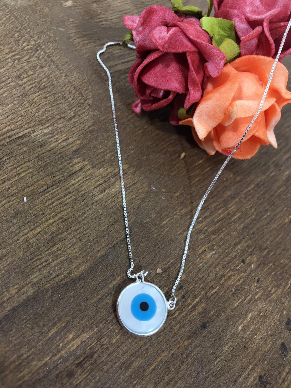 Gargantilha Veneziana 45 cm com Pingente de olho Grego