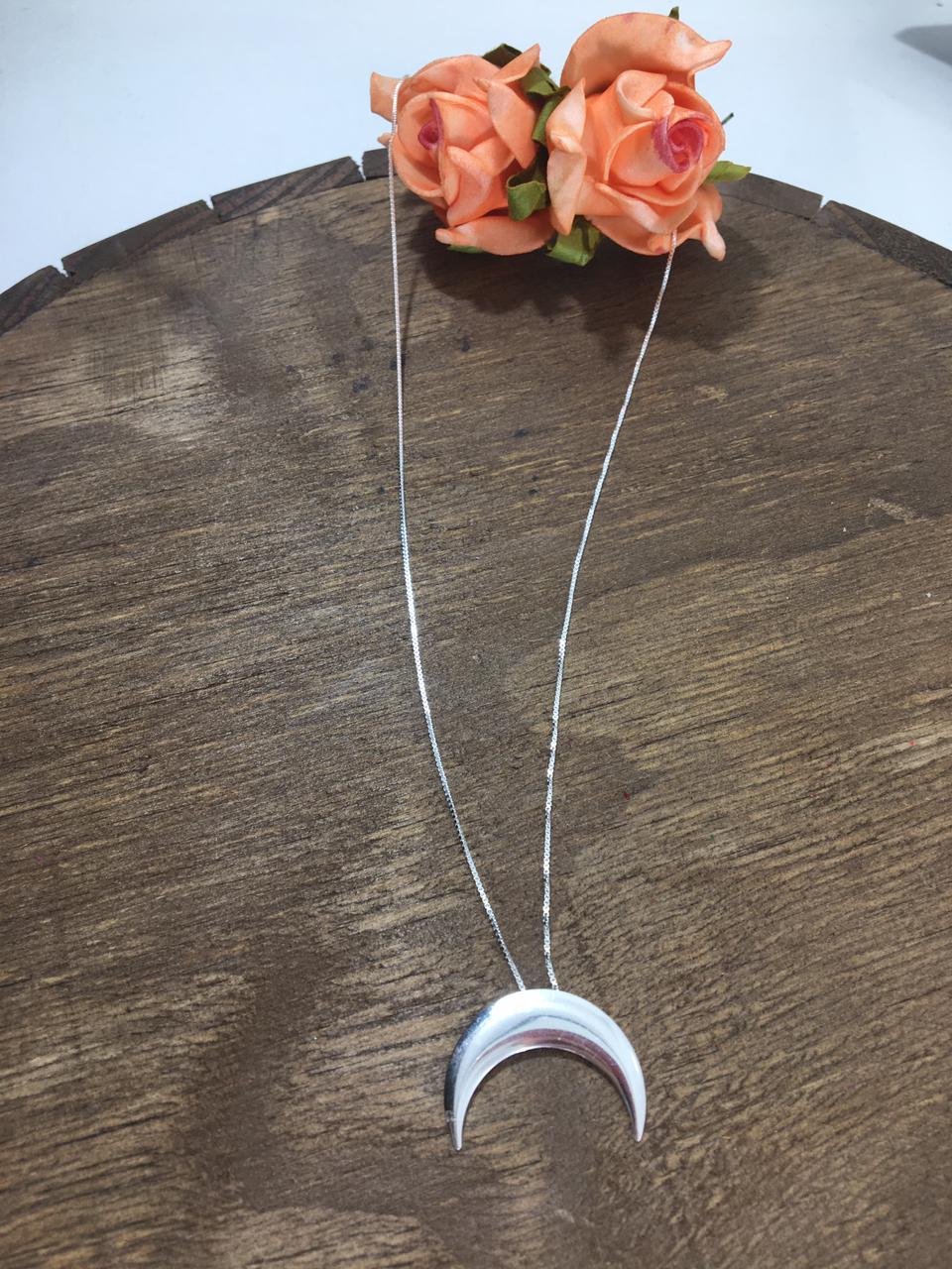 Gargantilha Veneziana 45 cm com Pingente Lua em prata 925