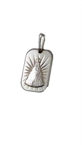 Pingente Chapa Com Símbolo Nossa Senhora Aparecida Prata 925