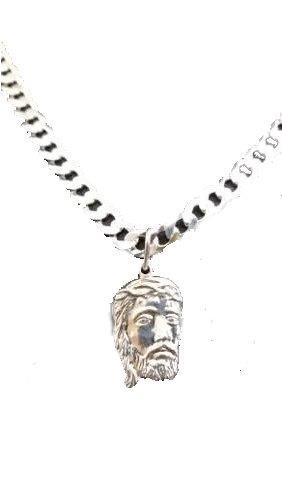 Pingente Em Prata 925 Face Cristo Oco Pequeno 2,2 Gramas