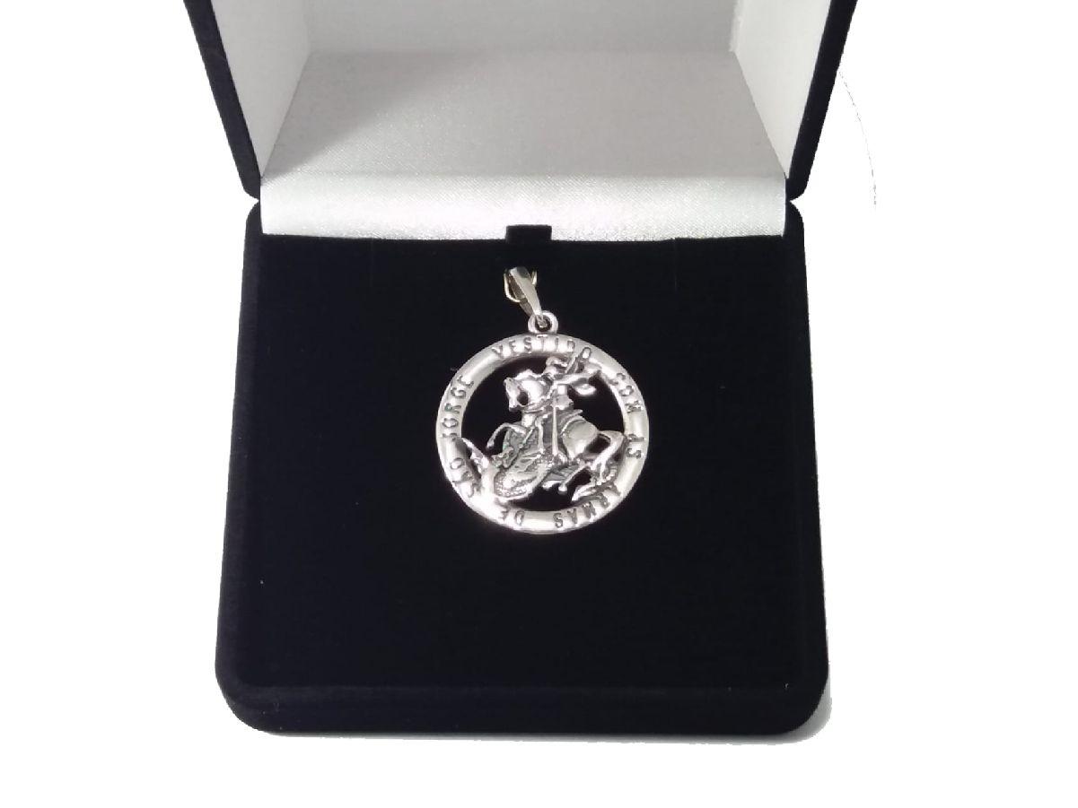 Pingente Em Prata 925 Maciça São Jorge 3,3 Cm 12,2 Gramas