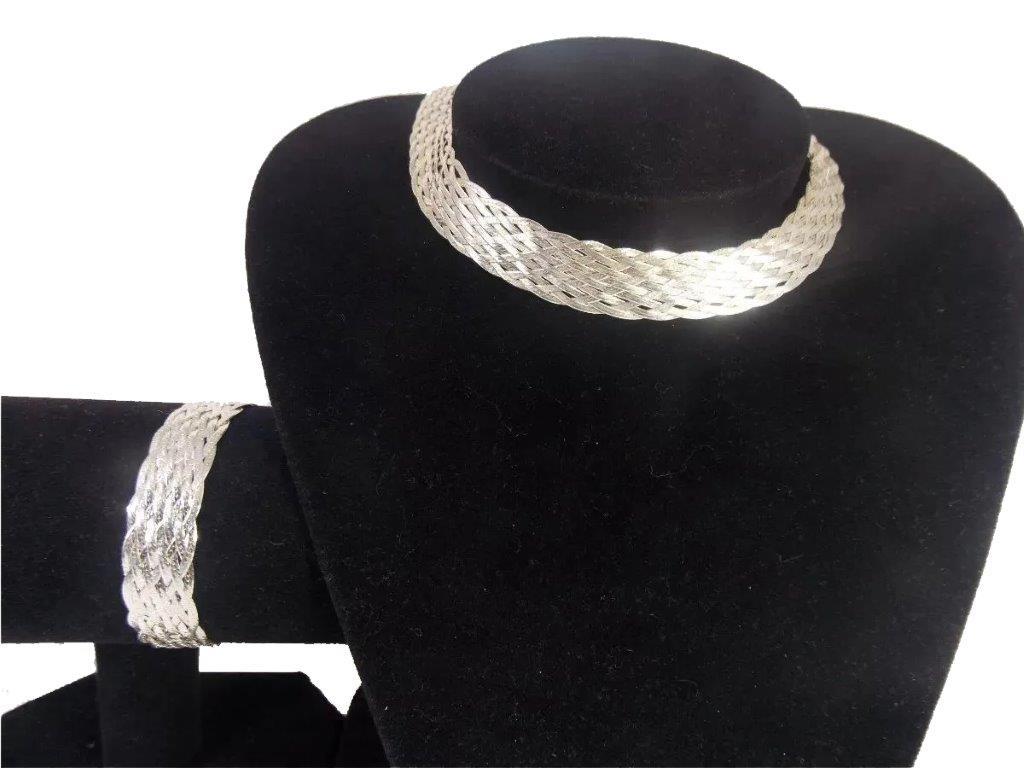 Prata 925, Colar 11 Fios 40cm + Pulseira 11 Fios