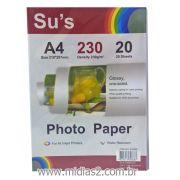 PAPEL A4 FOTOGRÁFICO GLOSSY 230G COM 20 FLS - SUS