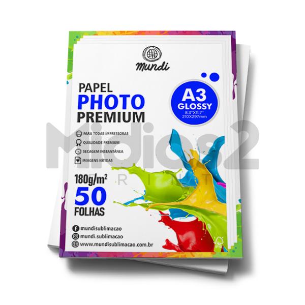 PAPEL A3 FOTOGRÁFICO GLOSSY ULTRA BRILHO 180G - MUNDI - 50 FLS
