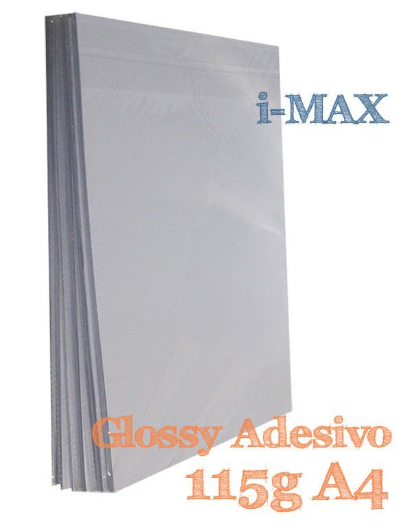 PAPEL A4 ADESIVO GLOSSY 115G COM 20 FLS - I-MAX