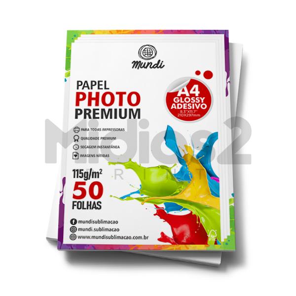 PAPEL A4 FOTOGRÁFICO ADESIVO GLOSSY ULTRA BRILHO 115G - MUNDI - 50 FLS
