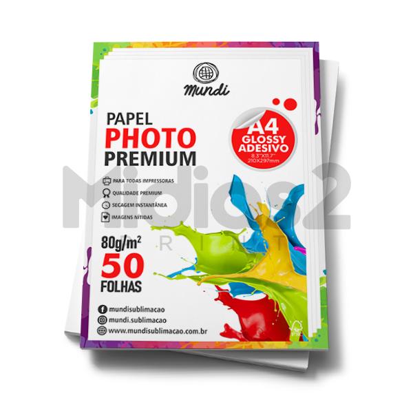 PAPEL A4 FOTOGRÁFICO ADESIVO GLOSSY ULTRA BRILHO 80G - MUNDI - 50 FLS